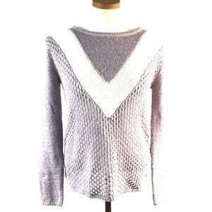TROUVE LAVENDER OPEN DIAMOND KNIT SWEATER NWT XS